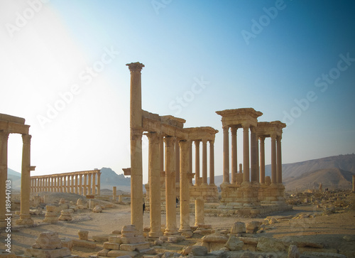 Poster Ruine Panorama of Palmyra columns, Tetrapylon and ancient city, destroyed now, Syria