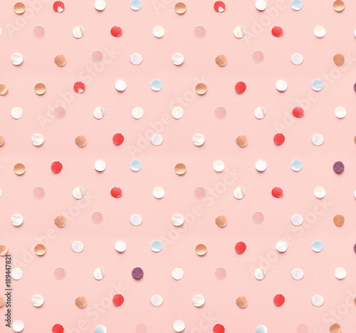 Obraz Polka dot pattern made of confetti - fototapety do salonu