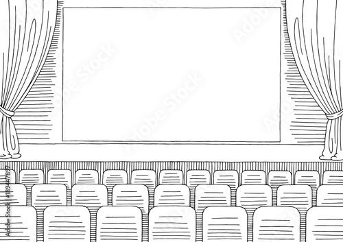 Stampa su Tela Cinema interior graphic black white sketch illustration vector