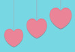 Valentines heart concept in pastel color with copy space for congratulations in a minimalist style.