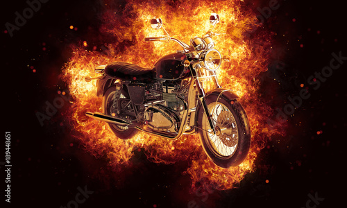 Keuken foto achterwand Fiets Flaming burning motorcycle with exploding sparks