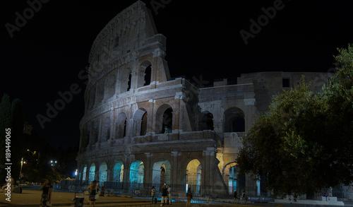 Colosseum illuminated in night ,Rome, Italy. © Bote