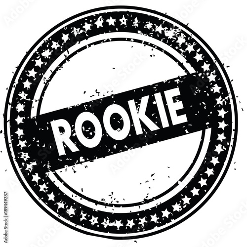 Fotografia  Black ROOKIE distressed rubber stamp with grunge texture.