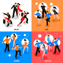 Dance Isometric People Concept