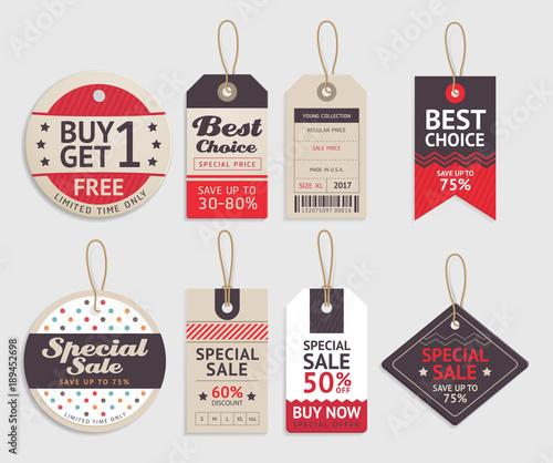Fotografía Price tags label design set. Vector illustration.