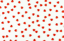 Valentine's Day Background With Red Hearts On A White Background