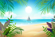 Paradise tropical beach landscape. Coastline, palm leaves, blue sea and sky
