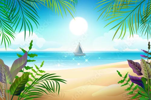 Paradise tropical beach landscape. Coastline, palm leaves, blue sea and sky © orensila