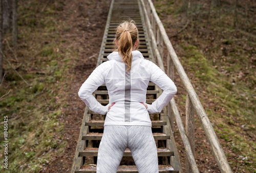 Woman ready for exercise outdoors