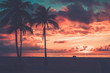canvas print picture - Scenic sunset at South Beach, Miami