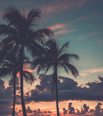 Scenic sunset at South Beach,Miami