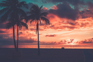 Scenic sunset at South Beach, Miami