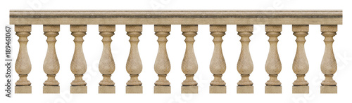 Detail of a concrete italian balustrade - seamless pattern concept image on whit Canvas Print