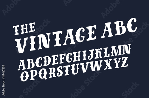 Fotografía  Vector of retro slanted font and alphabet