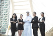 group of business people with businessman arabic for leadership. concept teamwork