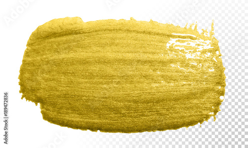 Gold paint brush vector smear stroke  Acrylic golden color