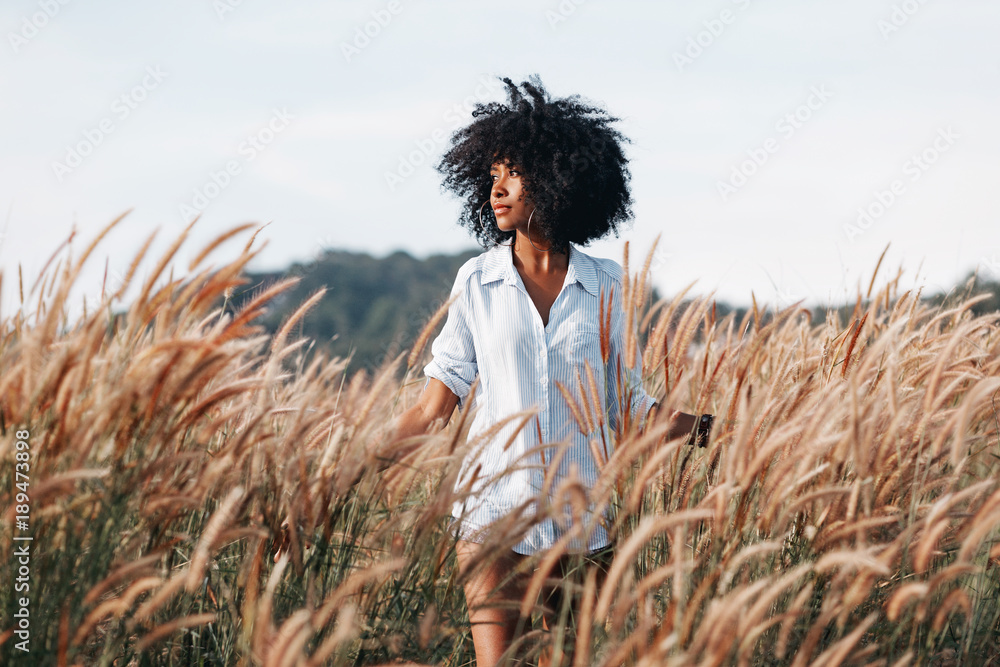 Fototapeta cheerful african american young woman on the field at sunset