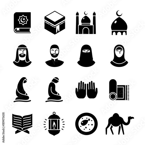 Photo  Islamic culture glyph icons set