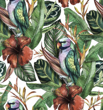 Seamless Watercolor Pattern With Hibiscus, Palm Leaves, Branch Of Strelitzia, Calathea, Parrot.Tropic Background