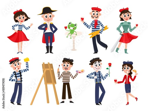 Vector Flat French Parisian Culture Traditional People Woman Man