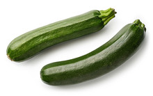 Two Fresh Zucchini Isolated On White