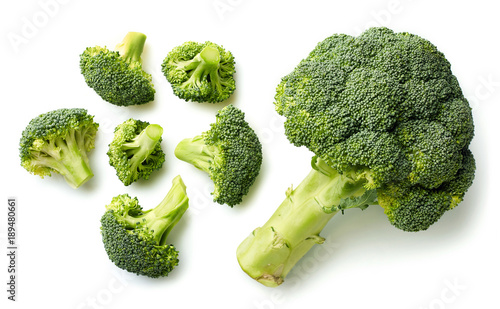 Fresh broccoli on white background Canvas Print