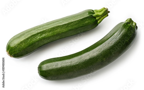 Two fresh zucchini isolated on white Canvas Print
