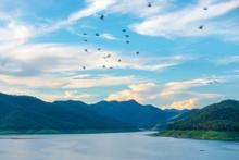 Blue Sky Cloud View Of Mae Kuang Dam In Chiang Mai Thailand