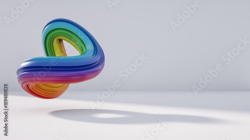 Foto  abstract rainbow logo, including copy space, 3D rendering