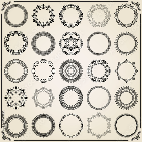Vintage set of vector round elements. Different elements for ...