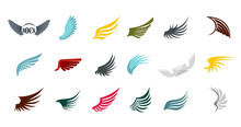 Wings Icon Set, Flat Style
