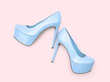 Blue High Heel Platform Shoes