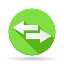 Arrows Icon. Green Round Sign With Shadow. Left And Right Combo Arrows