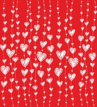 Pattern With White Hearts On Red Background. Vector Illustration