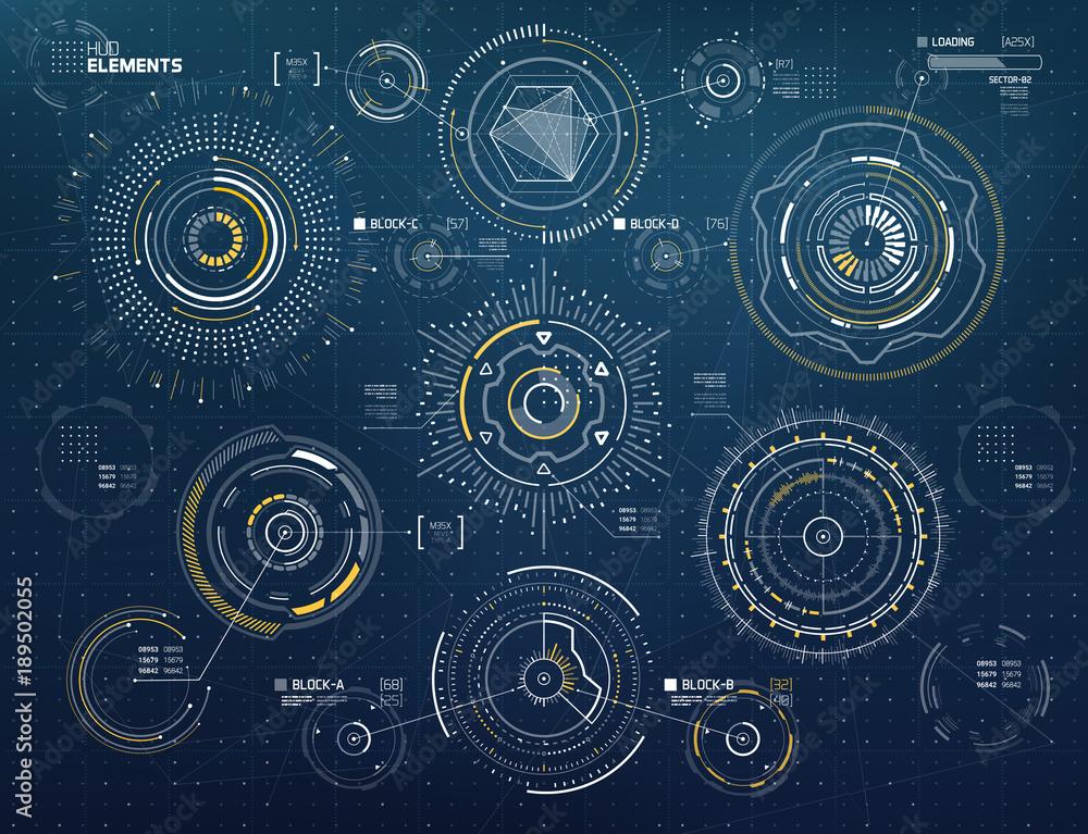 Fototapeta Vector Circular Elements Set for HUD Sci Fi Interfaces