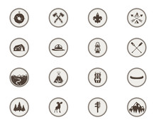 Boy Scouts Icons, Patches. The Full Bundle. Camping Stickers. Tent Symbol, Moose Pictogram, Backpack Elements, Canoe, Mountains, And Others. Stock Vector Stamps Isolated On White Background.