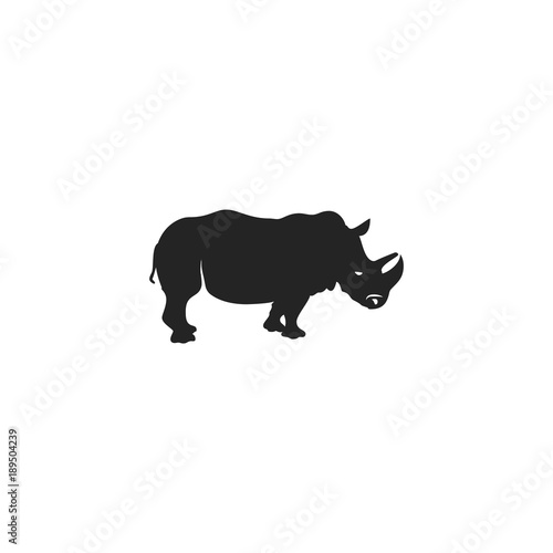rhino black icon rhinoceros silhouette symbol isolated on white
