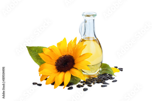 Fototapeta Sunflowers and sunflower oil.