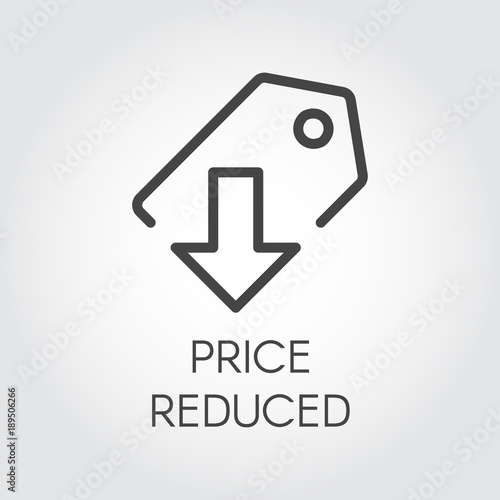 Price reduced linear icon  Price-tag with down arrow logo