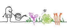 Cartoon Gardener Watering Vege...