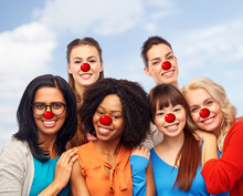 International Group Of Happy Women At Red Nose Day