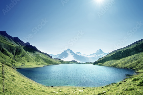 Aluminium Prints Schreckhorn and Wetterhorn from Bachalpsee lake,Bernese Oberland,Switzerland