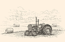 Retro Tractor In Field Hand Dr...