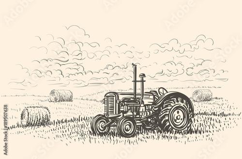 Photo Retro tractor in field hand drawn illustration. Vector.