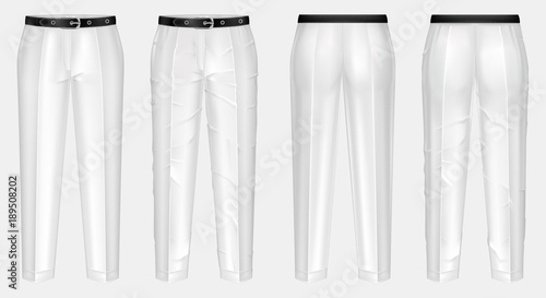 Fotografie, Obraz Vector realistic pair of white pants with black belt, one clean and ironed, other crumpled, isolated on background