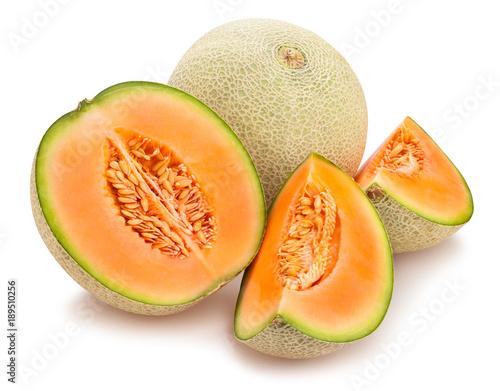 sliced cantaloupe melon path isolated