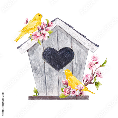 Watercolor birdhouse with birds Canvas-taulu