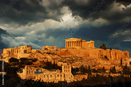 Acropolis with cloudy sky as background, Athens, Greece. Canvas Print