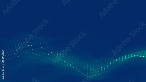 Staande foto Fractal waves Music background. Big Data Particle Flow Visualisation. Science infographic futuristic illustration. Sound wave. Sound visualization