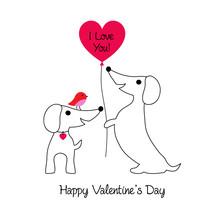 Cute Dachshund Dogs Valentine ...
